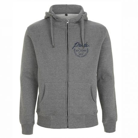HEATHER GREY CROSS ZIP HOODY